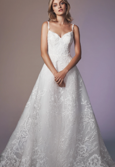 Spaghetti Strap Sweetheart Neckline A-line Wedding Dress by Anne Barge
