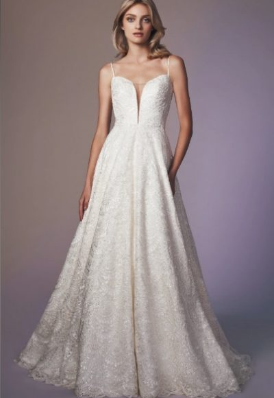 Spaghetti Strap Sweetheart Neckline Beaded A-line Wedding Dress by Anne Barge