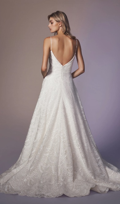 Spaghetti Strap Sweetheart Neckline Beaded A-line Wedding Dress by Anne Barge - Image 2