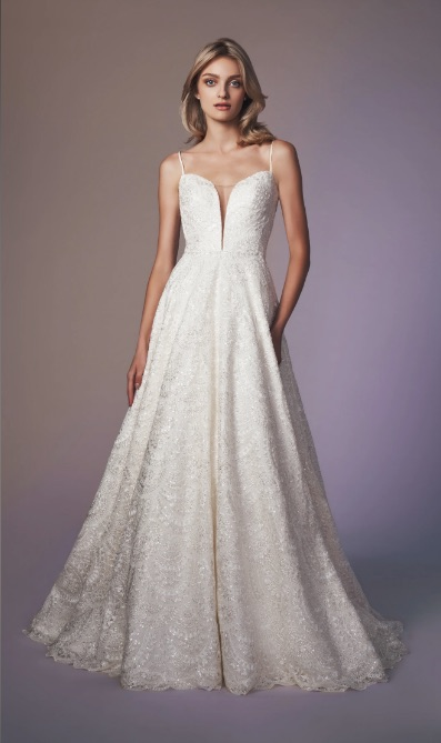 Spaghetti Strap Sweetheart Neckline Beaded A-line Wedding Dress by Anne Barge - Image 1