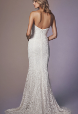 Strapless Beaded Lace Sheath Wedding Dress by Anne Barge - Image 2