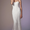 Strapless Beaded Lace Sheath Wedding Dress by Anne Barge - Image 1