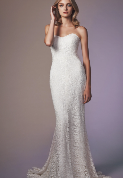 Strapless Beaded Lace Sheath Wedding Dress by Anne Barge