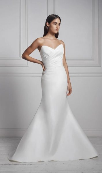 Strapless Draped Fit And Flare Wedding Dress by Anne Barge - Image 1