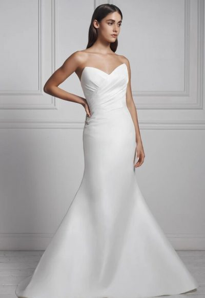 Strapless Draped Fit And Flare Wedding Dress by Anne Barge
