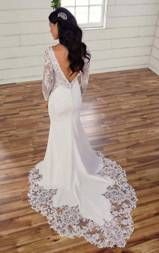 Long Sleeve V-neckline Fit And Flare Wedding Dress by Essense of Australia - Image 2