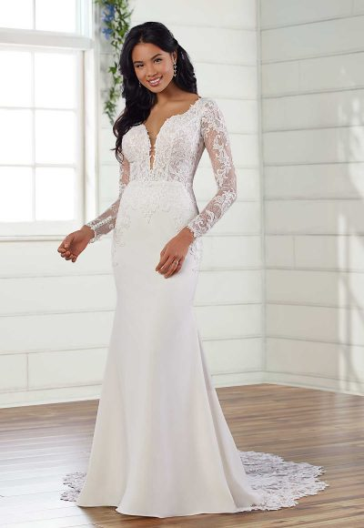 Long Sleeve V-neckline Fit And Flare Wedding Dress by Essense of Australia