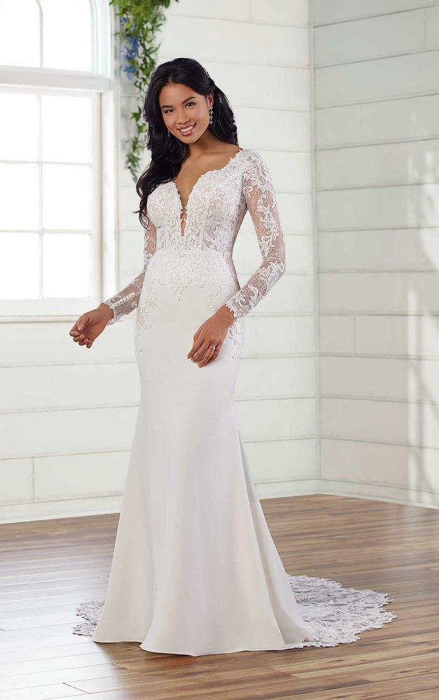 Long Sleeve V-neckline Fit And Flare Wedding Dress by Essense of Australia - Image 1