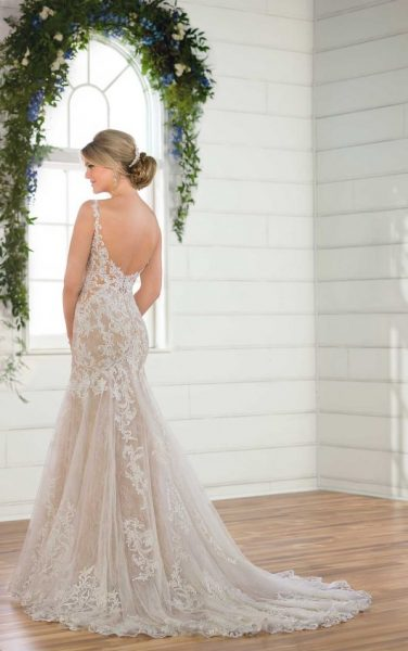 Sleeveless Illusion High Neckline Lace Fit And Flare Wedding Dress by Essense of Australia - Image 2