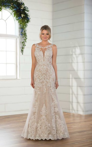 Sleeveless Illusion High Neckline Lace Fit And Flare Wedding Dress by Essense of Australia - Image 1