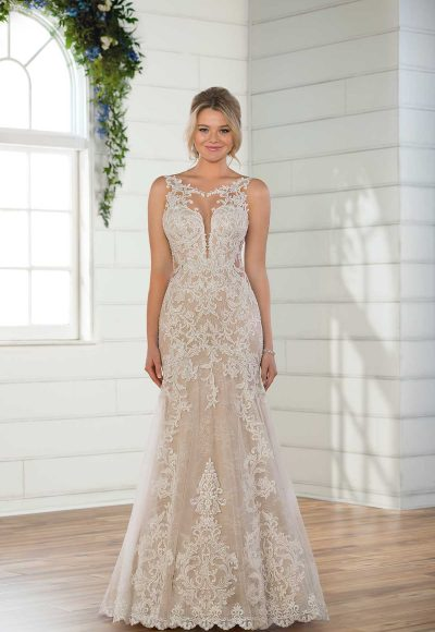 Sleeveless Illusion High Neckline Lace Fit And Flare Wedding Dress by Essense of Australia