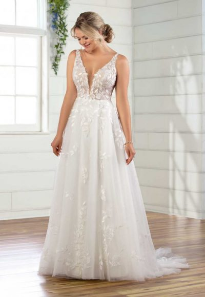 Sleeveless V-neckline A-line Wedding Dress With Tulle Skirt by Essense of Australia