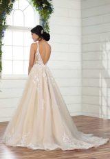 Sleeveless V-neckline Sheer Bodice Ball Gown Wedding Dress by Essense of Australia - Image 2