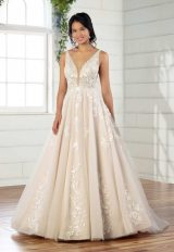 Sleeveless V-neckline Sheer Bodice Ball Gown Wedding Dress by Essense of Australia - Image 1