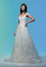 Cap Sleeve Floral Embroidered A-line Wedding Dress by Lazaro - Image 1