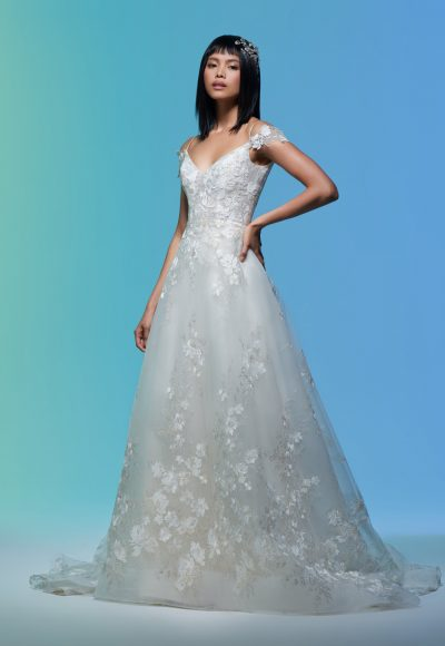 Cap Sleeve Floral Embroidered A-line Wedding Dress by Lazaro