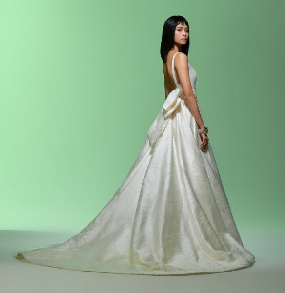 Sleeveless V-neckline Ball Gown Wedding Dress by Lazaro - Image 2