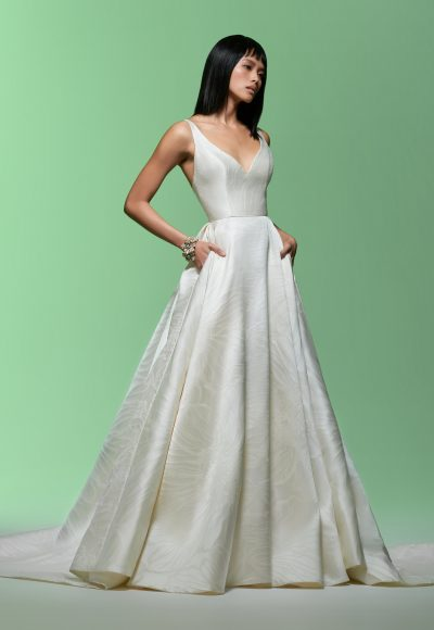 Sleeveless V-neckline Ball Gown Wedding Dress by Lazaro