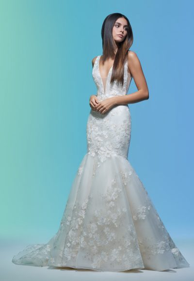 Sleeveless V-neckline Embroidered Mermaid Wedding Dress by Lazaro