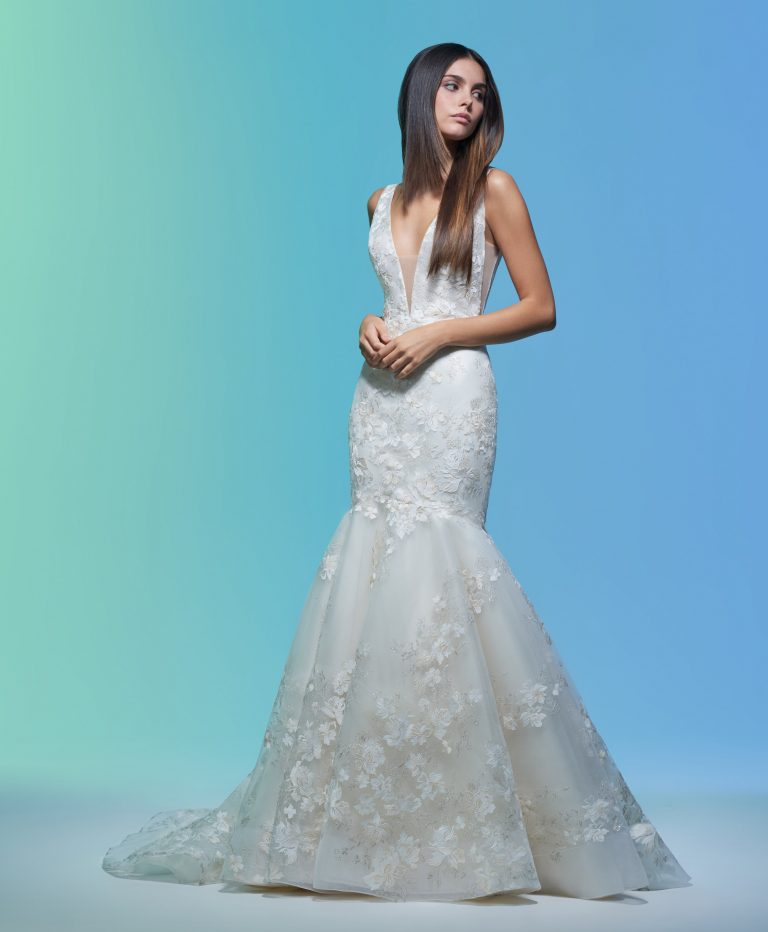 Sleeveless V-neckline Embroidered Mermaid Wedding Dress by Lazaro - Image 1
