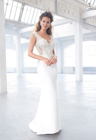 Cap Sleeve V-neckline Crepe Beaded Bodice Wedding Dress by Madison James