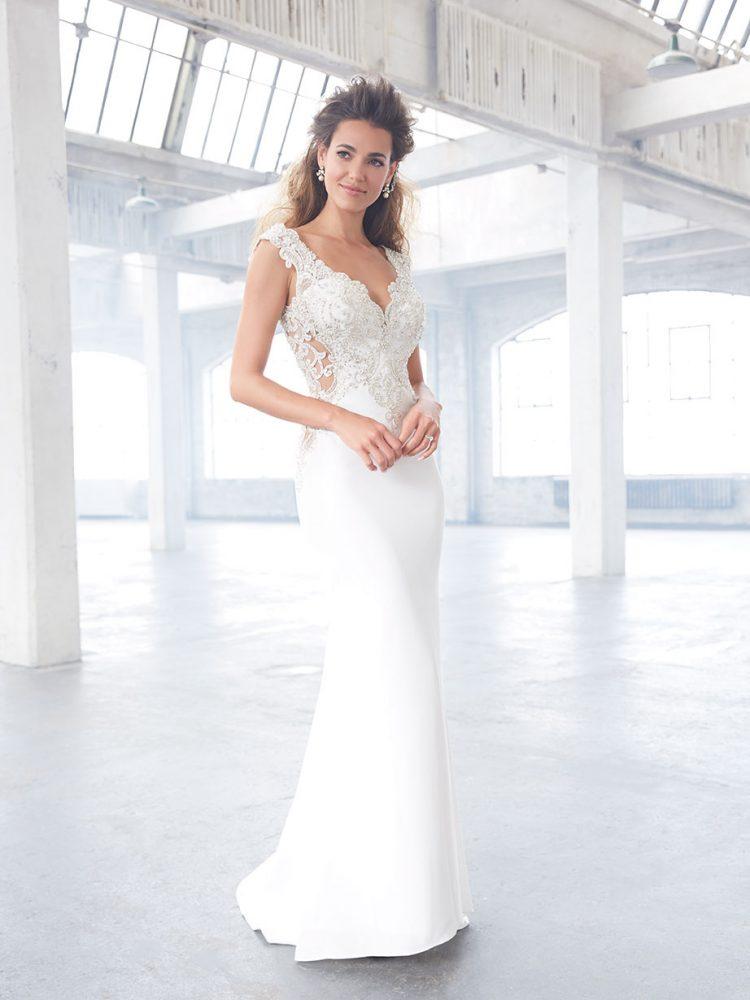 Cap Sleeve V-neckline Crepe Beaded Bodice Wedding Dress by Madison James - Image 1