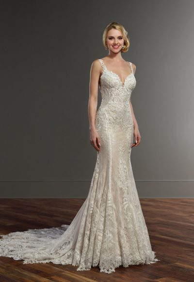 Sleeveless Sweetheart Neckline Lace Fit And Flare Wedding Dress by Martina Liana