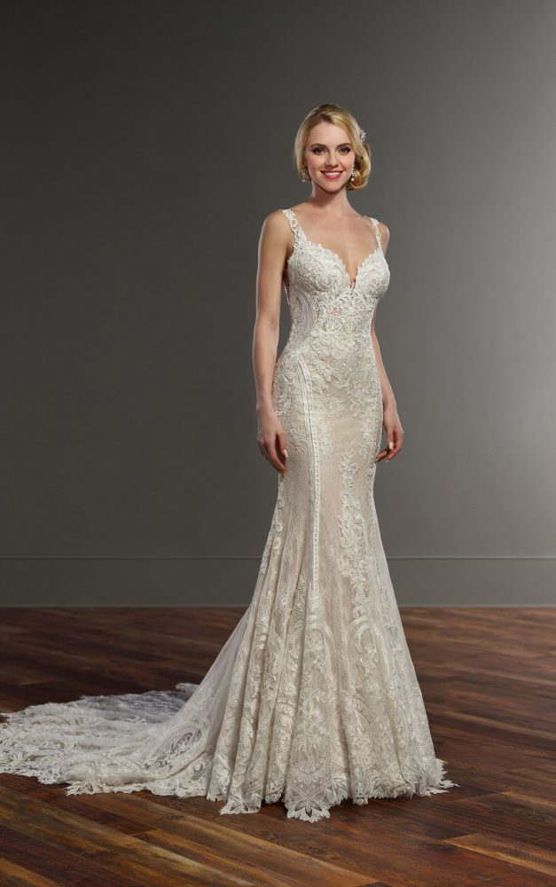 Sleeveless Sweetheart Neckline Lace Fit And Flare Wedding Dress by Martina Liana - Image 1