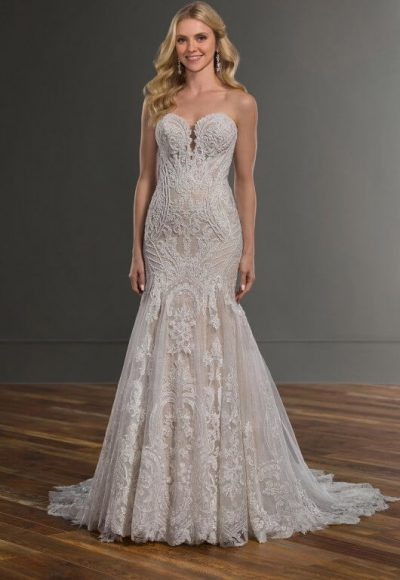 Strapless Sweetheart Neckline Beaded Lace Fit And Flare Wedding Dress by Martina Liana