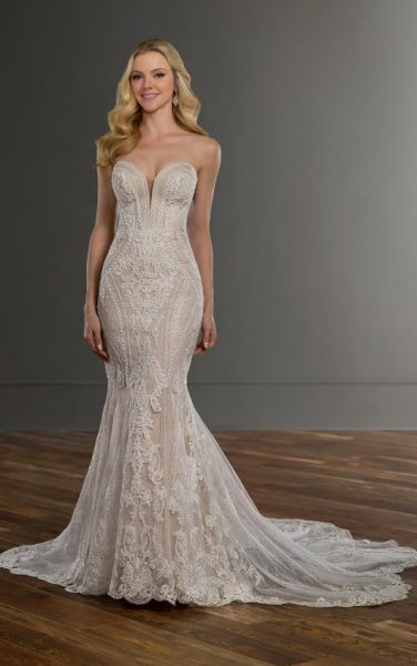 Strapless Sweetheart Neckline Lace Fit And Flare Wedding Dress by Martina Liana - Image 1
