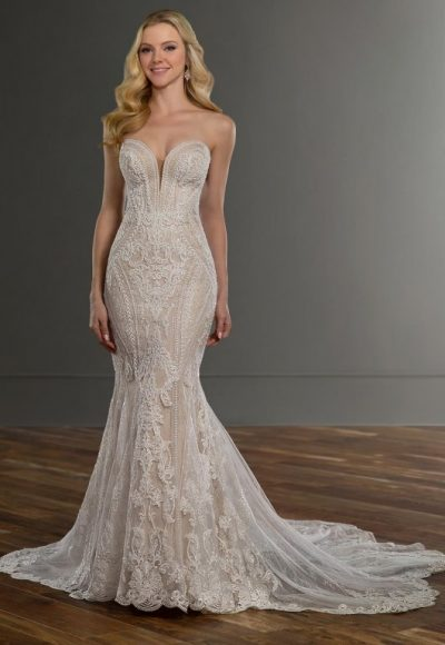 Strapless Sweetheart Neckline Lace Fit And Flare Wedding Dress by Martina Liana