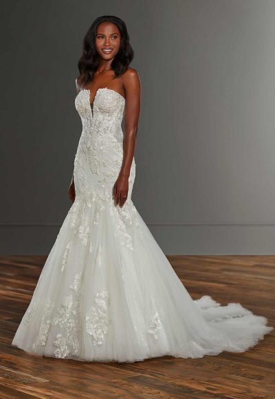 Strapless V-neckline Lace Fit And Flare Wedding Dress by Martina Liana