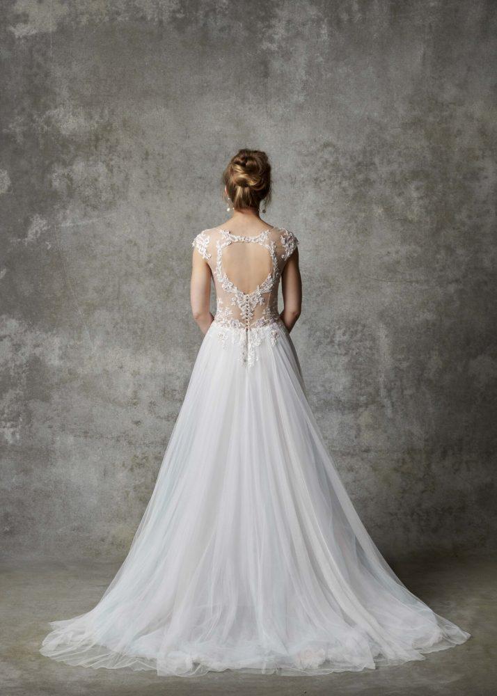 Cap Sleeve Illusion Bodice A-line Wedding Dress by Randy Fenoli - Image 2