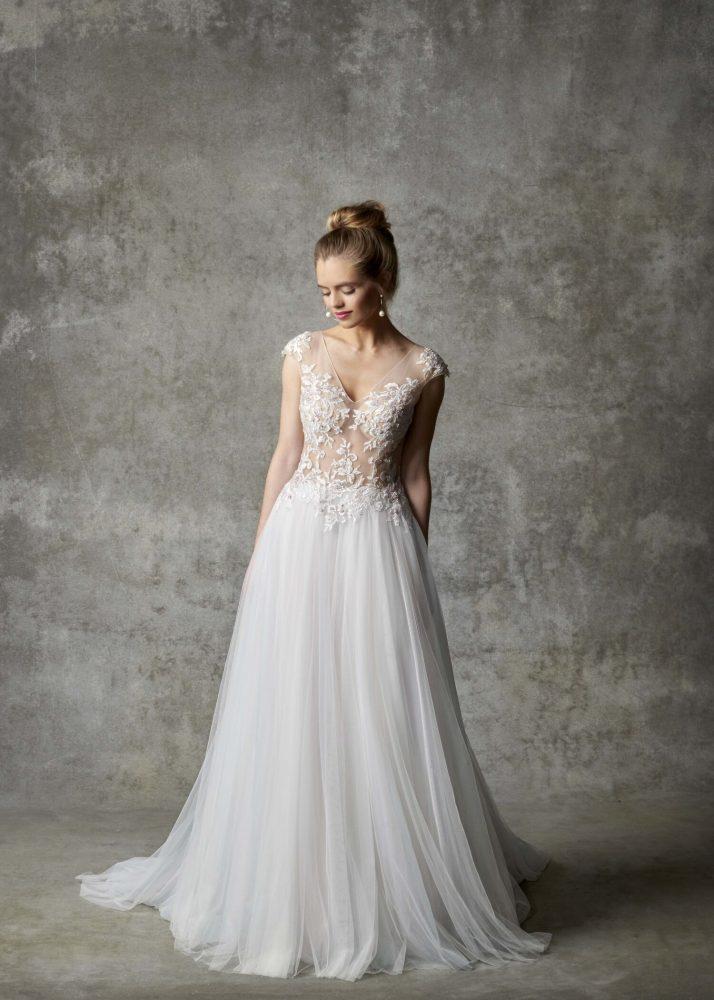 Cap Sleeve Illusion Bodice A-line Wedding Dress by Randy Fenoli - Image 1