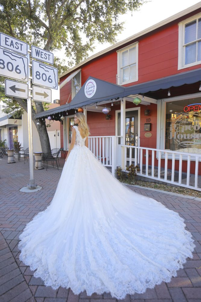 Cap Sleeve V-neckline Beaded Ball Gown Wedding Dress by Randy Fenoli - Image 2
