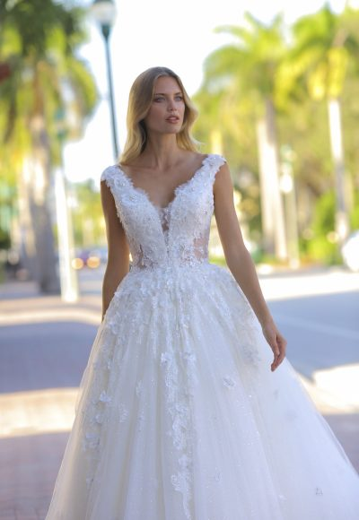 Cap Sleeve V-neckline Beaded Ball Gown Wedding Dress by Randy Fenoli