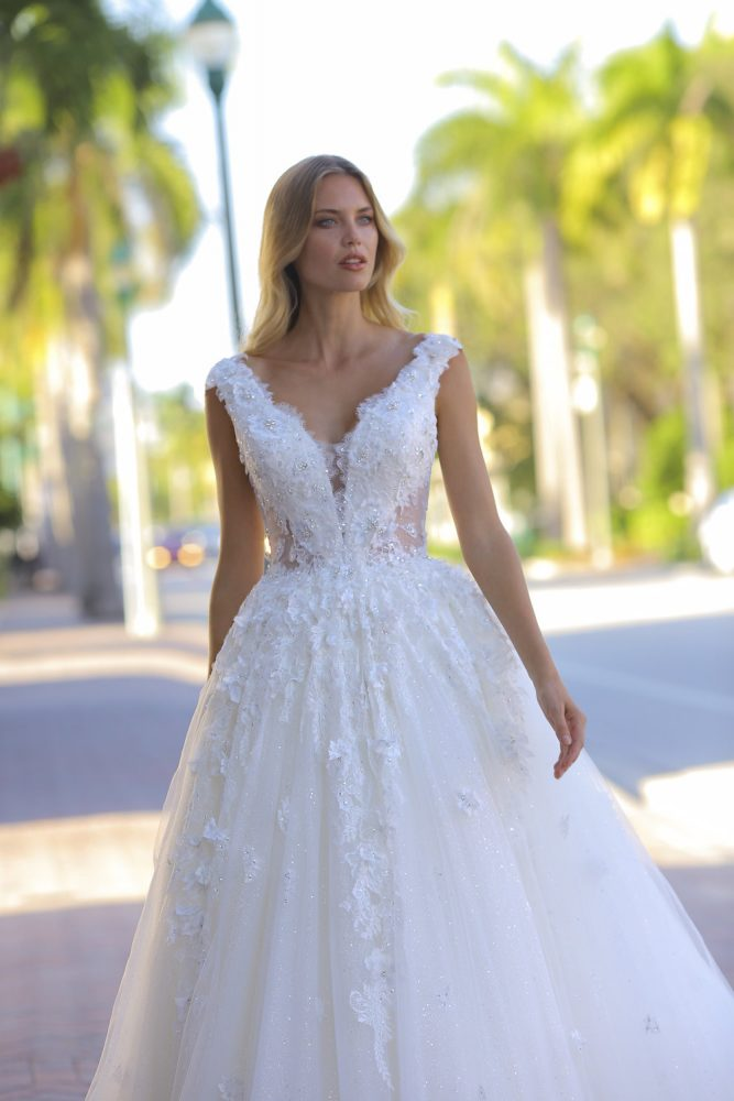 Cap Sleeve V-neckline Beaded Ball Gown Wedding Dress by Randy Fenoli - Image 1