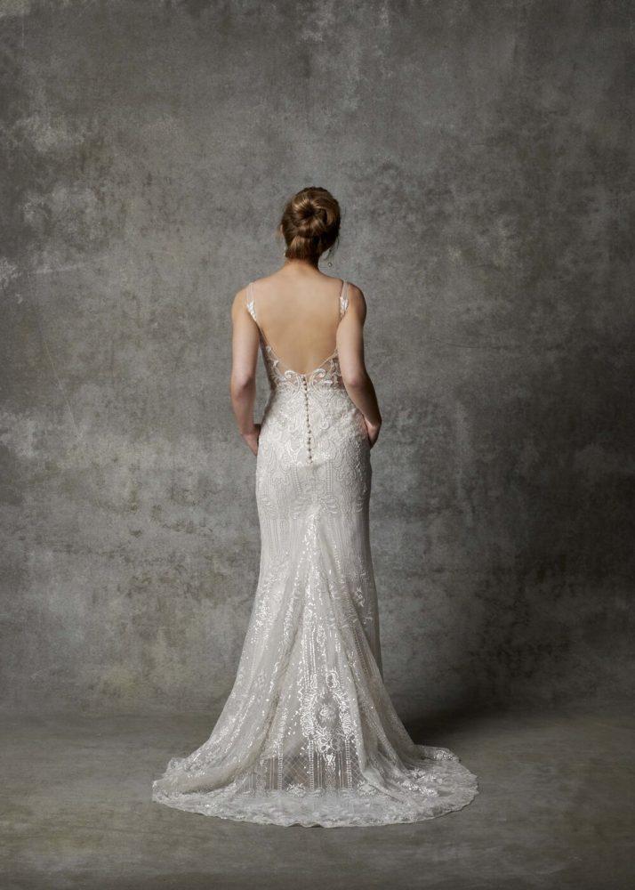 Sleeveless V-neckline Beaded Fit And Flare Wedding Dress by Randy Fenoli - Image 2
