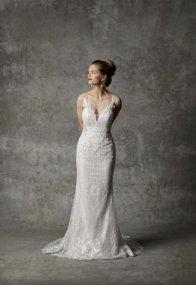 Sleeveless V-neckline Beaded Fit And Flare Wedding Dress by Randy Fenoli