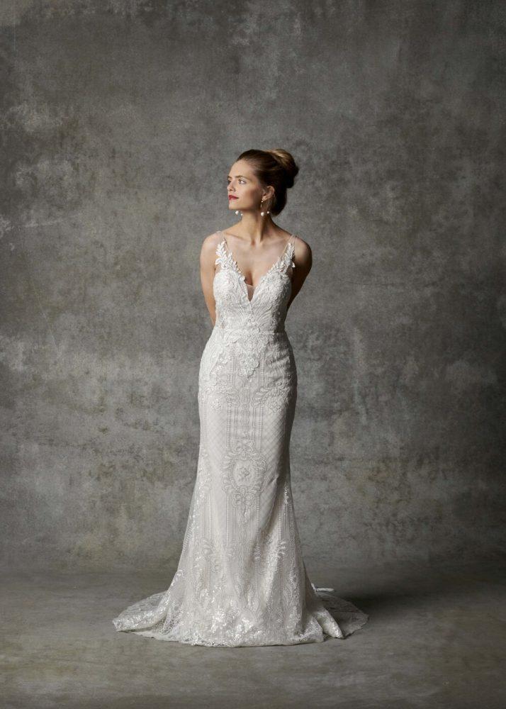 Sleeveless V-neckline Beaded Fit And Flare Wedding Dress by Randy Fenoli - Image 1
