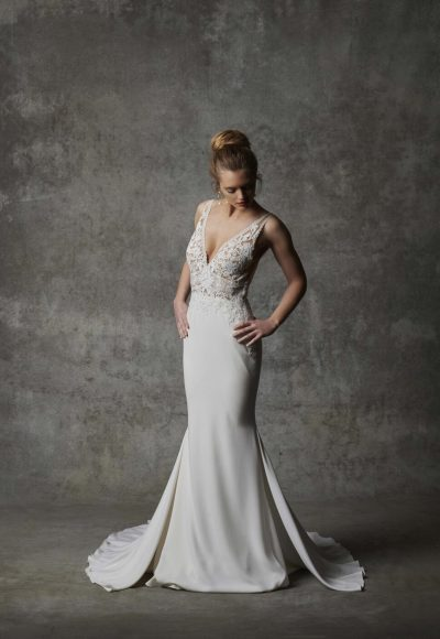 Sleeveless V-neckline Crepe Wedding Dress With Lace Details by Randy Fenoli