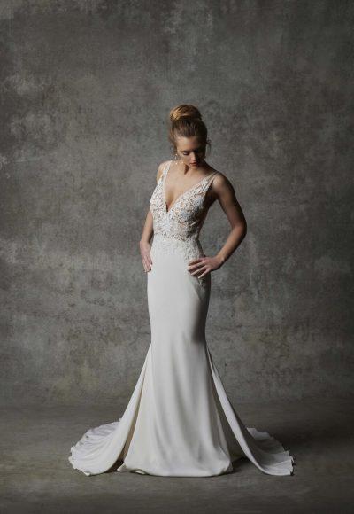 Sleeveless V-neckline Crepe Wedding Dress With Lace Details by Randy Fenoli