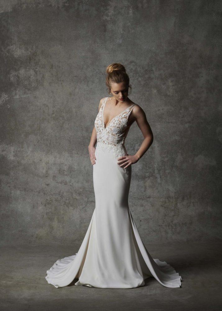Sleeveless V-neckline Crepe Wedding Dress With Lace Details by Randy Fenoli - Image 1