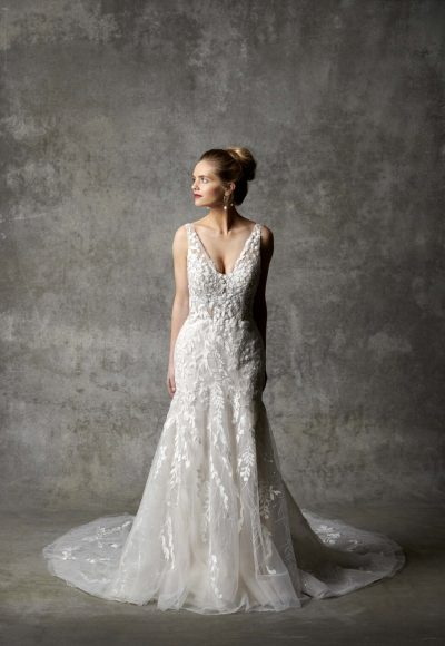 Sleeveless V-neckline Fit And Flare Wedding Dress by Randy Fenoli
