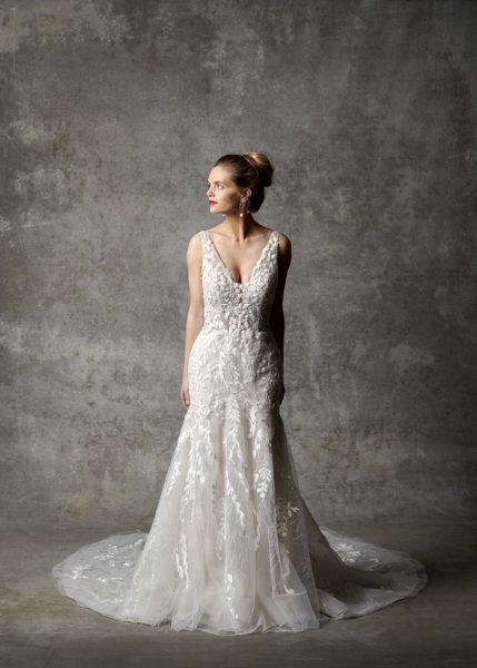 Sleeveless V-neckline Fit And Flare Wedding Dress by Randy Fenoli - Image 1