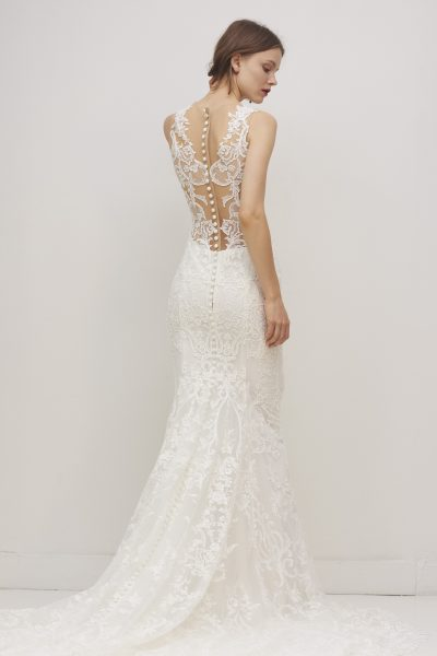 Sleeveless V-neck Lace Sheath Wedding Dress by Rivini - Image 2