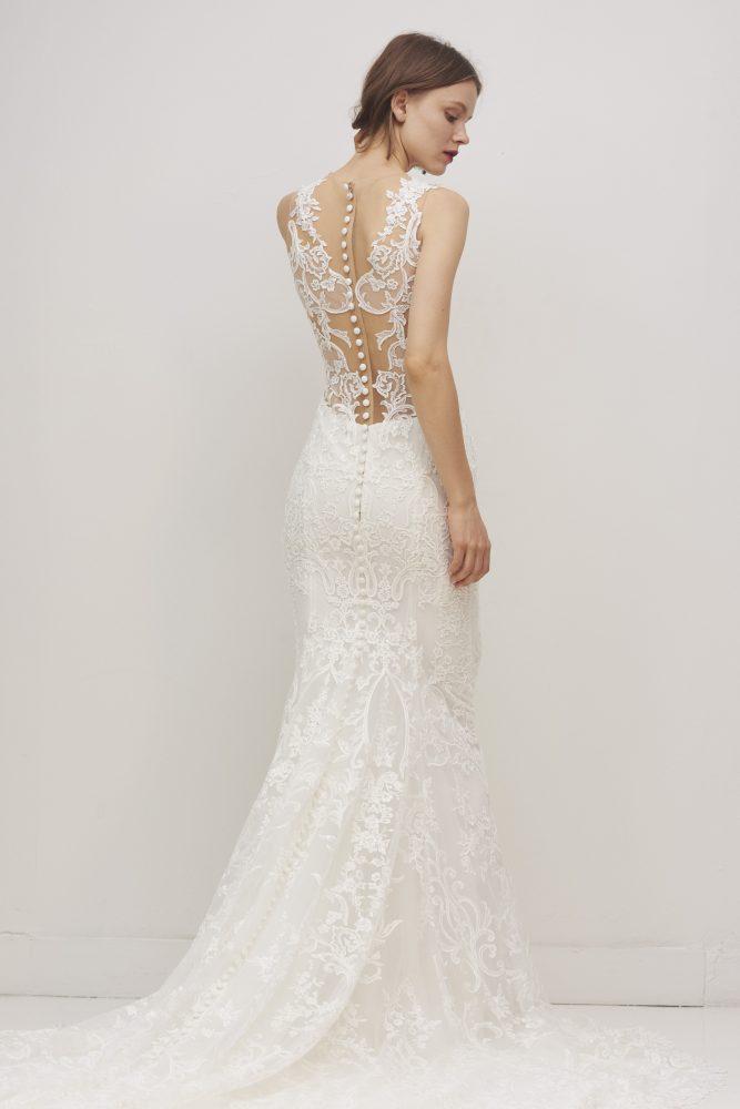 Sleeveless V-neck Lace Sheath Wedding Dress by Rivini - Image 2