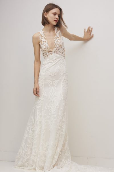Sleeveless V-neck Lace Sheath Wedding Dress by Rivini - Image 1