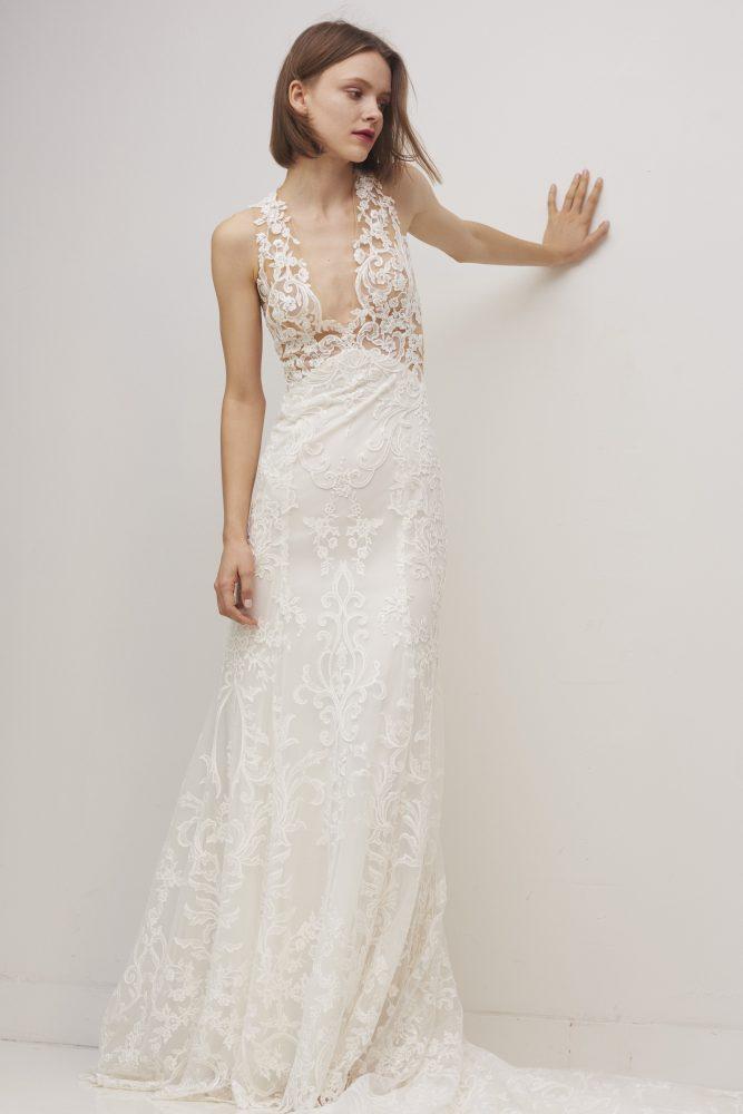 Sleeveless V-neck Lace Sheath Wedding Dress by Rivini - Image 1