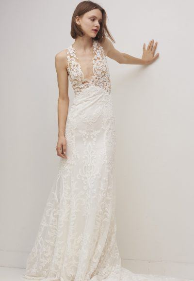 Sleeveless V-neck Lace Sheath Wedding Dress by Rivini